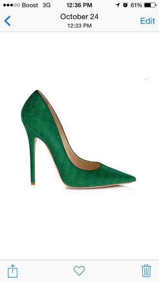 emerald green emerald high heels crocodile green