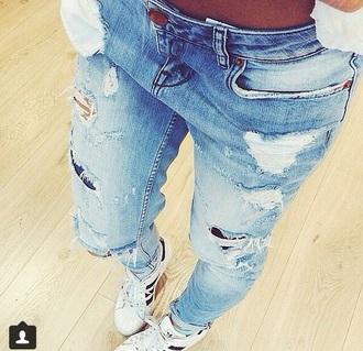 jeans ripped jeans blue jeans boyfriend jeans