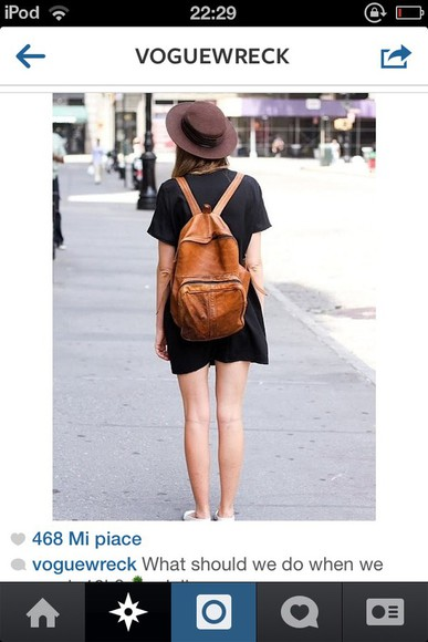 bag brown bag leather bag backpack leather backpack vintage tumblr outfit