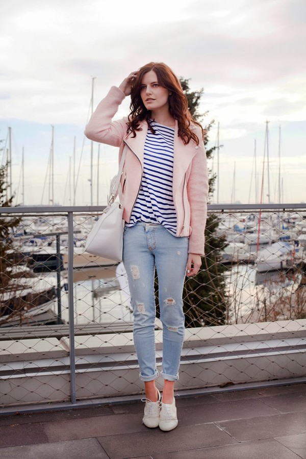 Light pink zipped collar biker jacket - biker jackets - coats ...