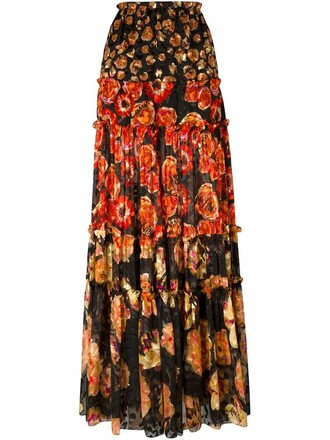 skirt maxi skirt maxi women floral print silk red