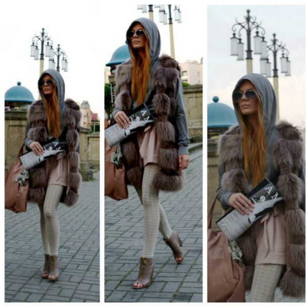 sweater fur vest style casual hoodie sunglasses bag shoes tights