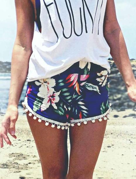 shorts fashion t-shirt blue shorts palm print shorts blue pom pom shorts aloha flowered shorts colorful any shirt tropical pom poms palm tree print beach style flowers flowers weheartit floral