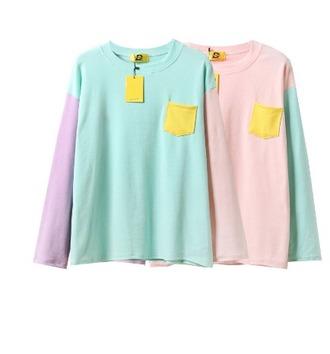 shirt girl girly girly wishlist long sleeves colorblock blue pink purple yellow colorful pocket t-shirt
