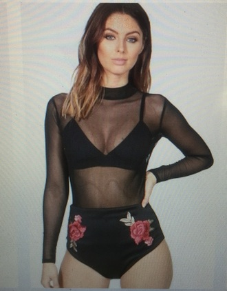 top rose embroidered black red bodysuit summer mesh cute ootd olive green rose embroidered