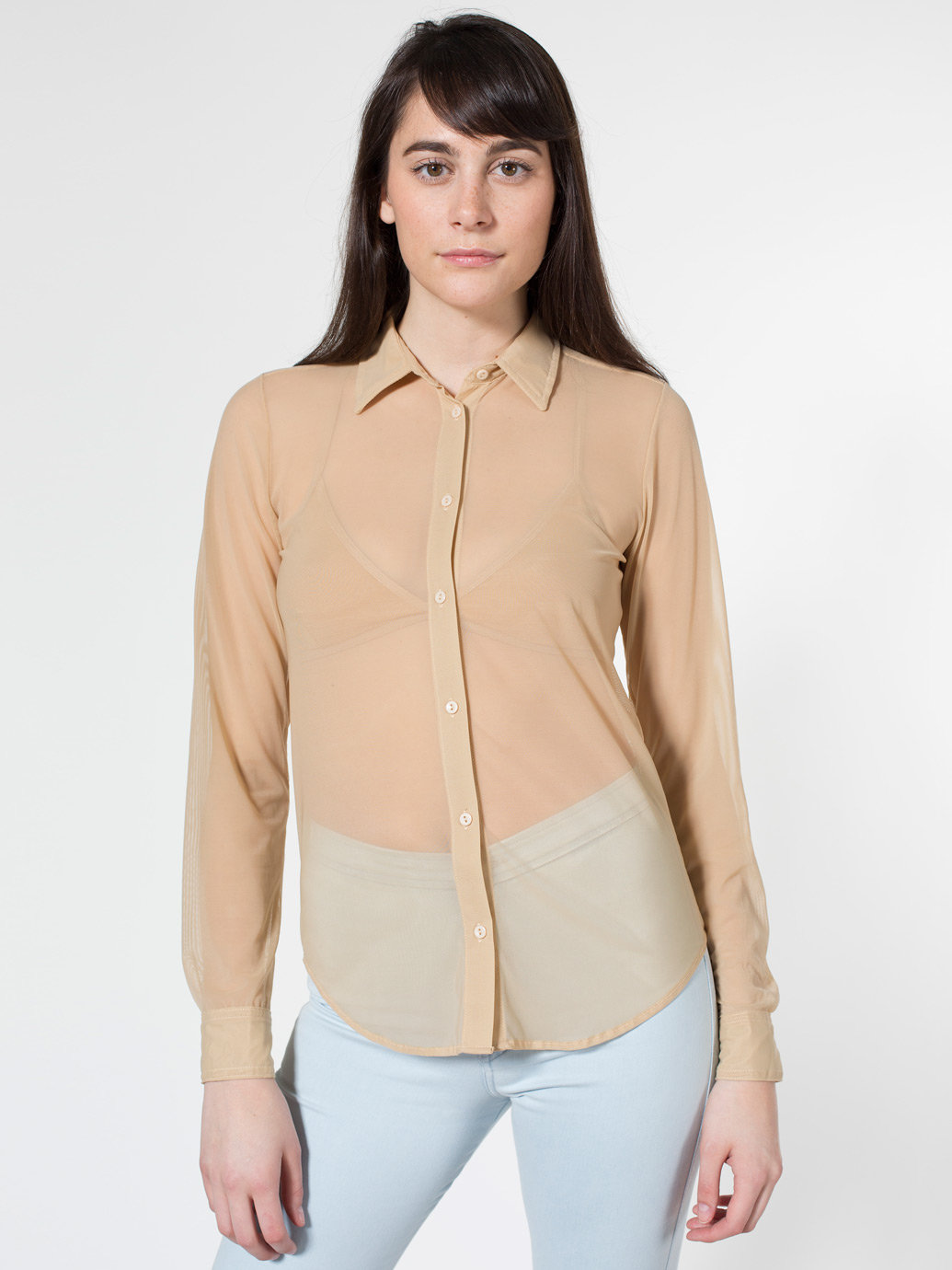 Nylon Spandex Micro-Mesh Long Sleeve Button-Up | American Apparel