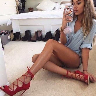 shoes high heels peep toe red gladiator heels