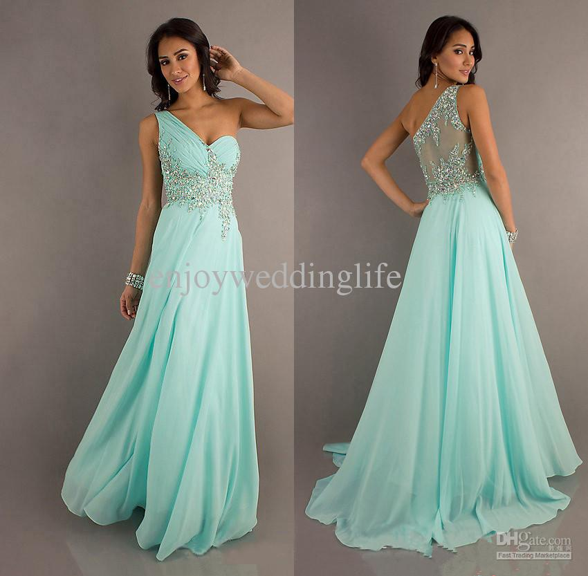 Cheap Prom Dresses - Discount New One Shoulder Chiffon Mint Ruffles Prom Dresses Online with $69.9/Piece   DHgate