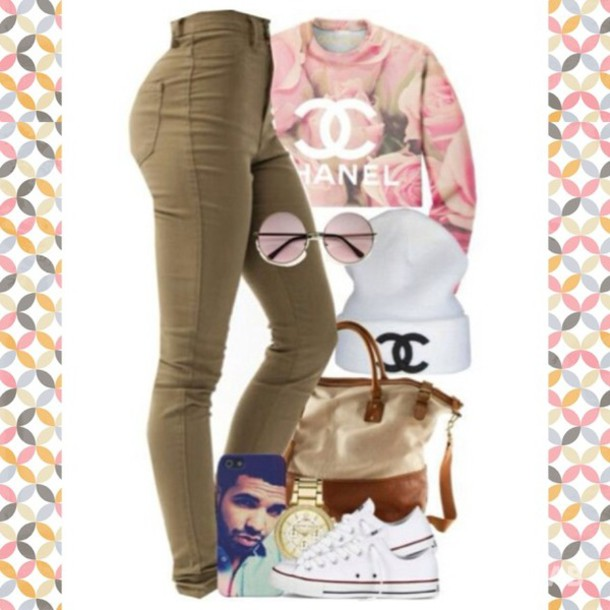 sweater sweatshirt chanel pink beige pants shirt beige pants beanie drake jewels jeans khaki