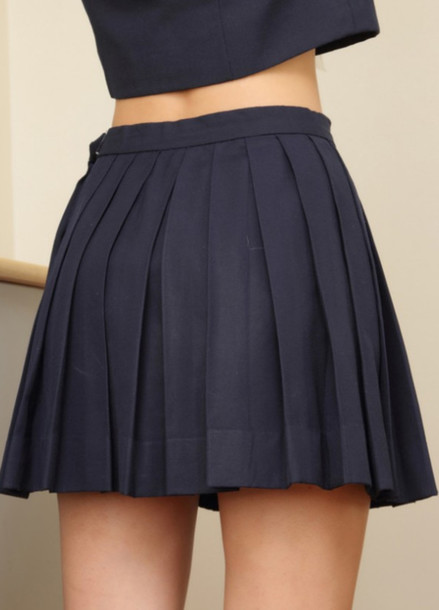 769032855a shirt crop tops skirt black skirt pleated skirt school girl school girl  skirt skater skirt short