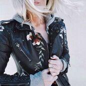 jacket,celebrity fashion lookbook,streetstyle,36683,biker jacket,embroidered,casual streetstyle,leather motorcycle jacket,leather jacket,trendingfashion