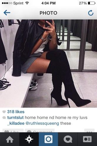 knee high boots black boots black heels