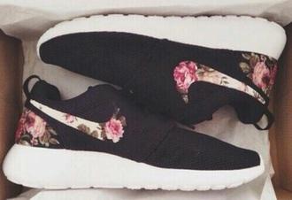 shoes black floral nike coat