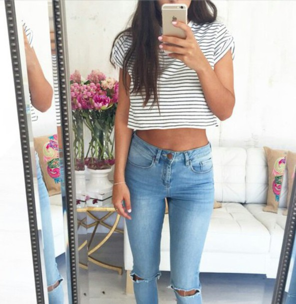 shirt top stripes what and blue crop tops