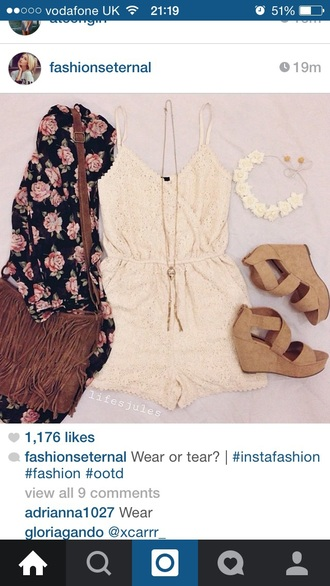 romper white romper lace wedges floral kimono floral kimono summer outfit summer outfits tumblr fashion casual style jumpsuit shoes