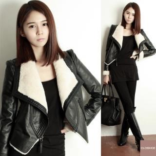 Closhoe- Fleece Lined Faux-Leather Jacket - Free International