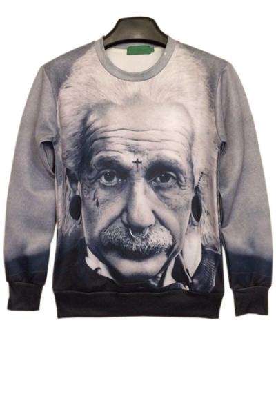 Lifelike Albert Einstein Print Sweatshirt - OASAP.com