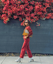 sweater,tumblr,red sweater,knitwear,knit,knitted sweater,pants,red pants,all red wishlist,monochrome,bag,snake print