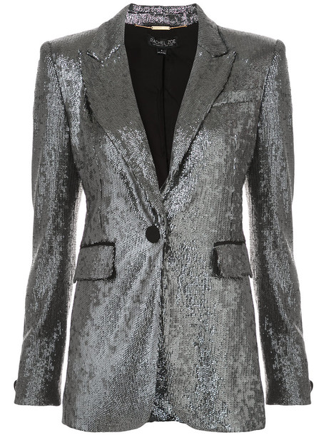 jacket sequin jacket women spandex grey metallic