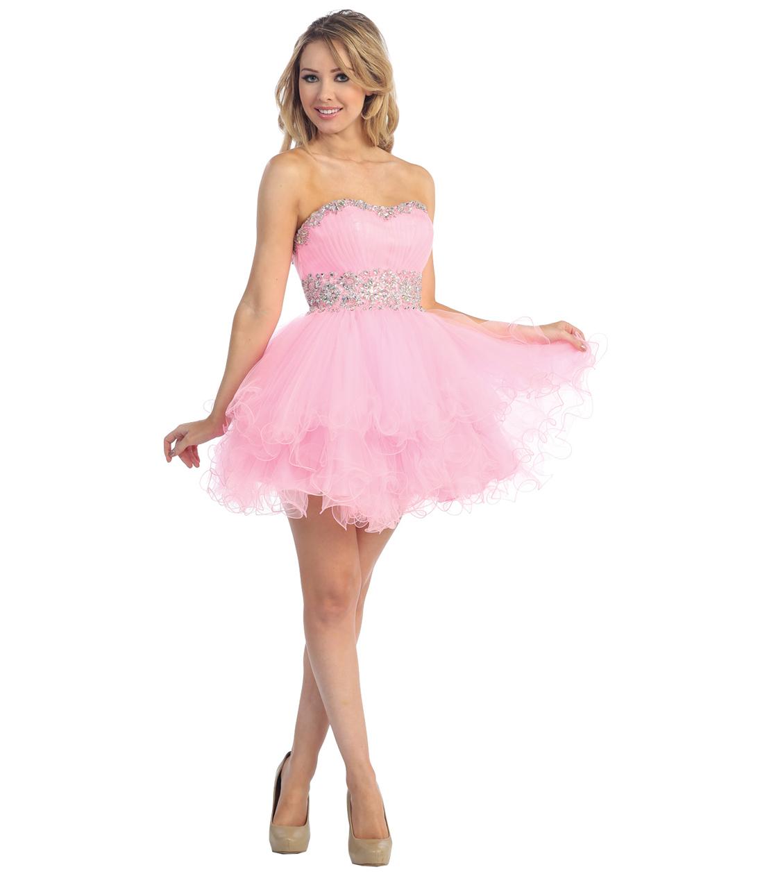 9f37a727dc2 2013 Prom Dresses - Pink Chiffon Strapless Short Prom Dress ...