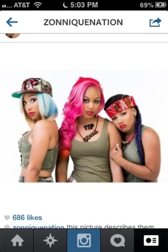 hat bandana red omg girlz zonnique pullins zonnique breaunna womack babydoll bahja rodriguez pink purple blonde hair blue