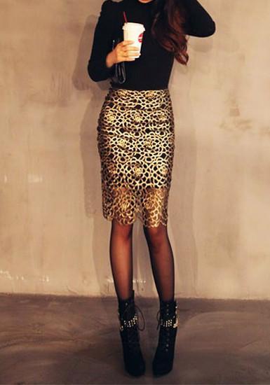 Cutout Gold Skirt