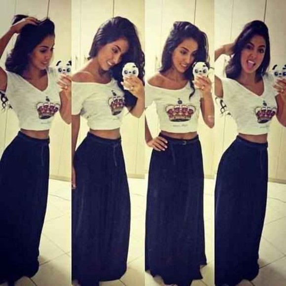 skirt shirt long skirt crop tops belt