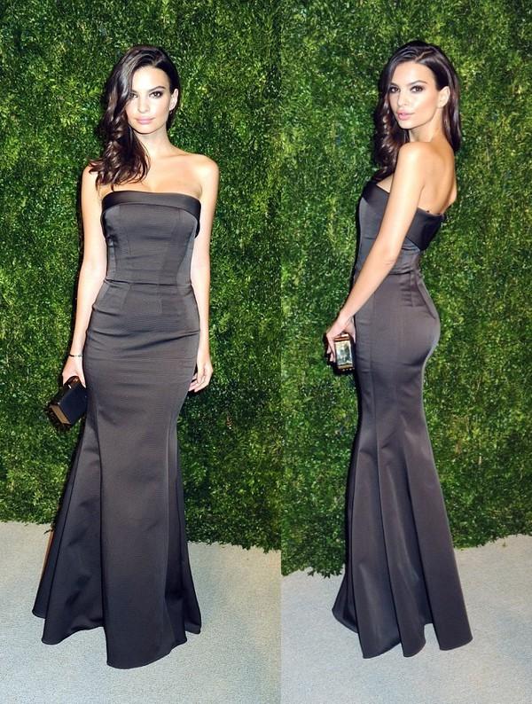 Gown Prom Dress Emily Ratajkowski Black Zac Posen Bustier Dress