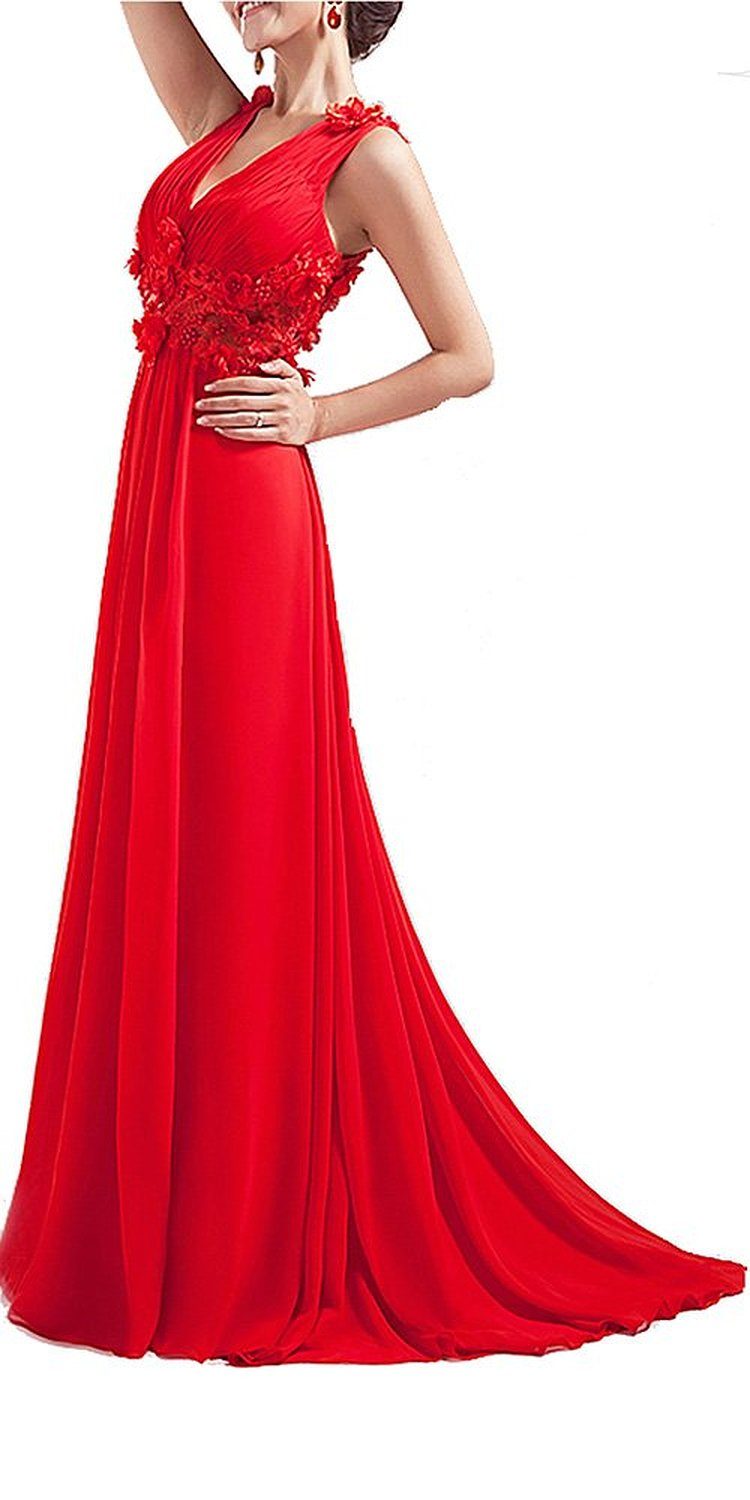 Amazon.com: Sexy Floral Empire V-neck Pleated Neckline Long Red Prom Dress: Clothing