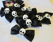 scarf,skull,bows,black,dark,hair clip