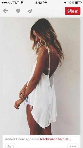 fashion style long flow spaghetti straps blouse backless white boho tankk