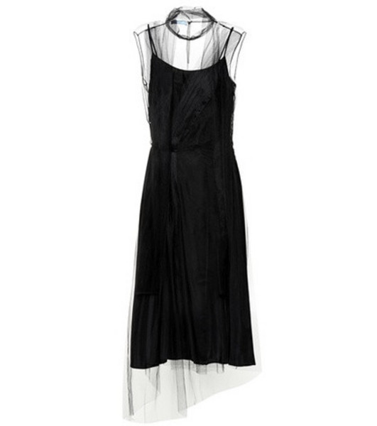 Prada Silk and tulle midi dress in black