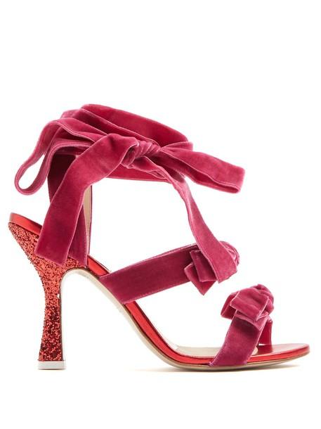 Attico velvet sandals sandals velvet pink shoes