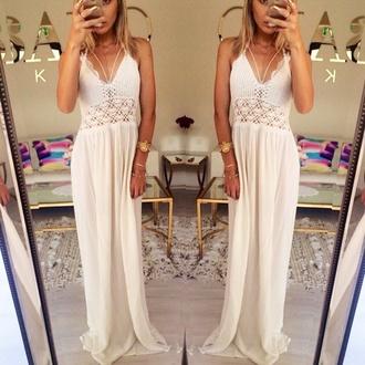 white dress white crochet crochet maxi dress boho hippie maxi dress