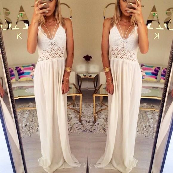 crochet crochet maxi dress maxi dress white dress white boho hippie