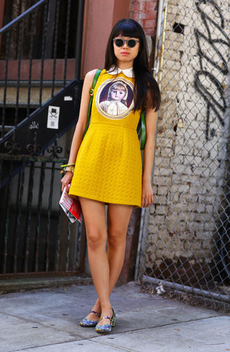 dress yellow peter pan collar quilted collared dress