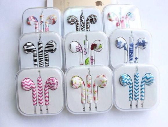 headphones jewels print earphones pattern floral jeans boots floral apple earpods