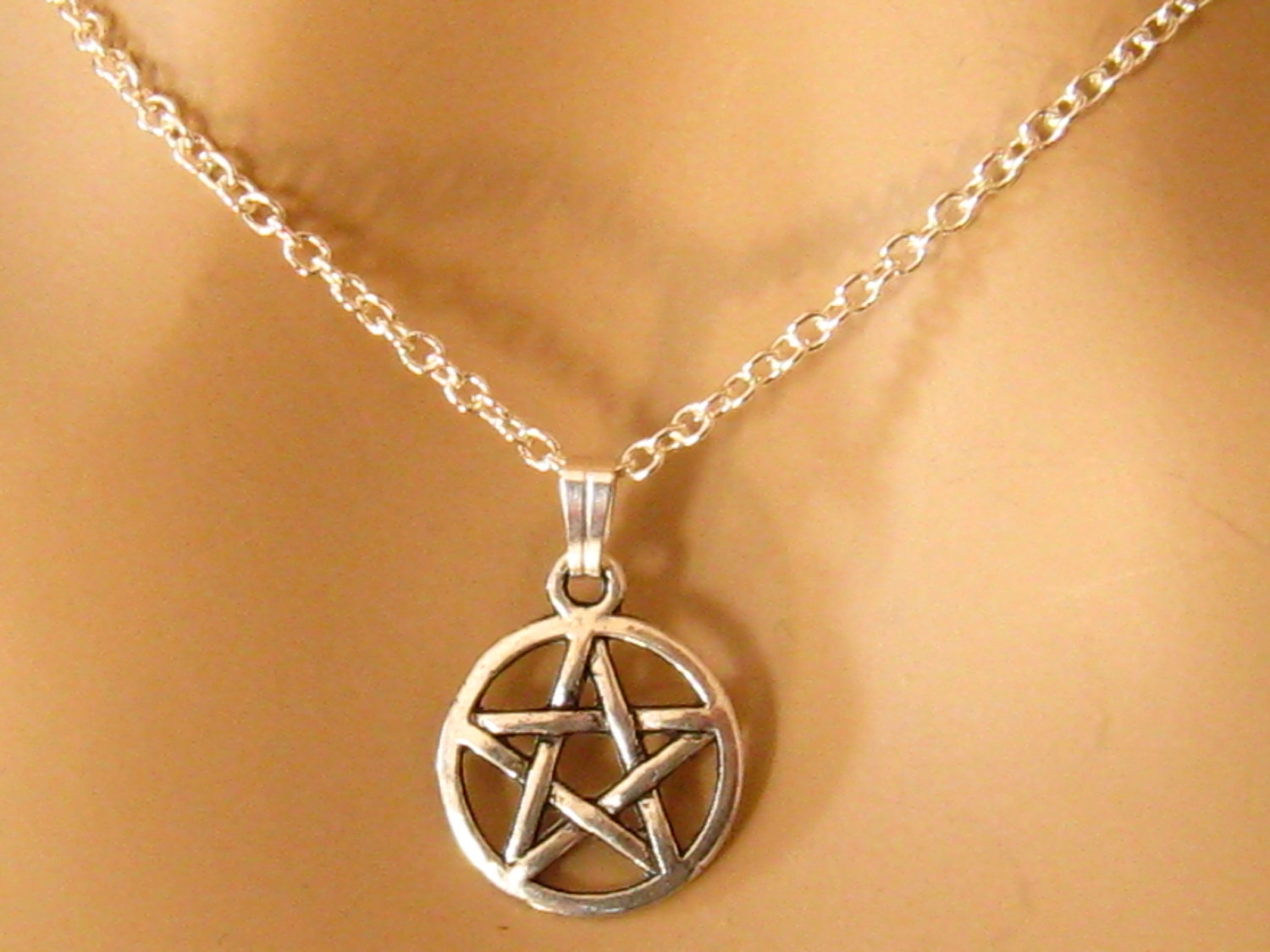 Pentagram Necklace, 5 Point Star Necklace, Pentacle, Pentagram