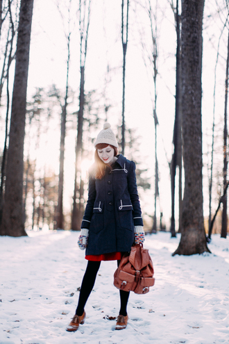 the clothes blogger hat coat sweater skirt tights shoes