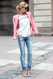 jacket,white sheer t-shirt,pink blazer,skinny jeans,metallic heels,blogger,sunglasses