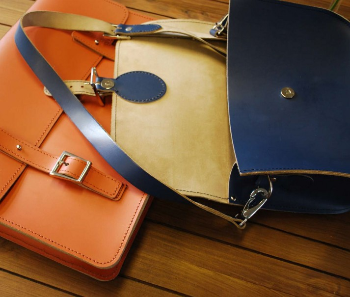 Handmade British colourful leather satchels & bags - Brit Stitch