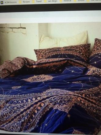 home accessory blue orange duvet