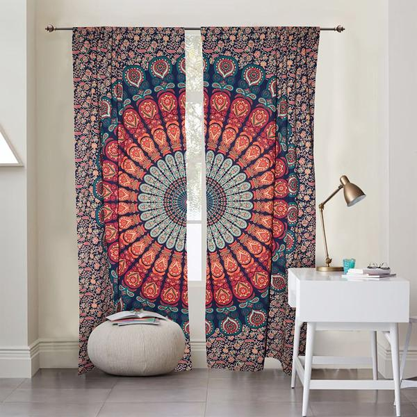 Peacock mandala door curtains indian cotton window hanging drapes tapestries