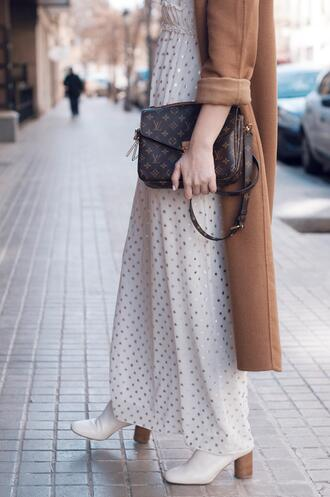 macarenagea blogger dress coat shoes bag sunglasses louis vuitton bag camel coat maxi dress spring outfits