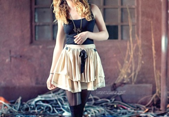 bow skirt ribbon tan super cute