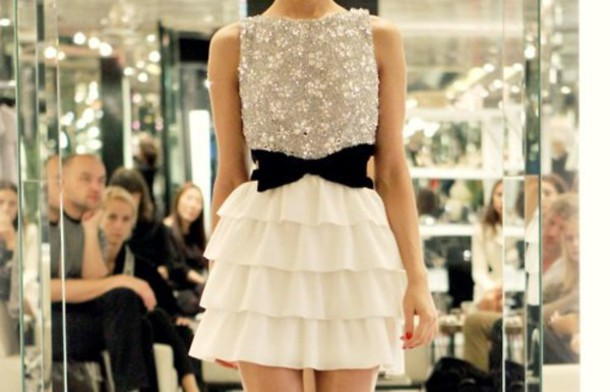 dress belt ribbon white fashion clothes white dress short prom dress prom dress cute dress white dress with bow black bow dress sparkle sparkly dress elegant dress glitter short dress
