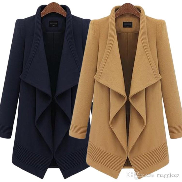 Cheap 2014 Women Winter Irregular Cardigan Wool Coats Slim Long