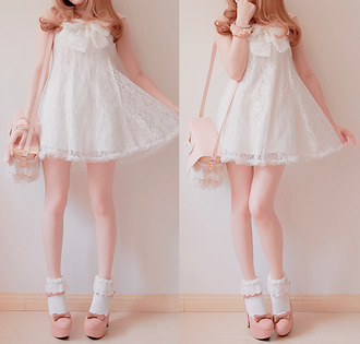 dress white cute lace dress white dress kawaii shoes socks bobon21
