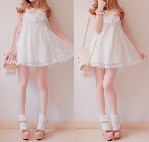 Dress White Cute Lace Dress White Dress Kawaii Shoes