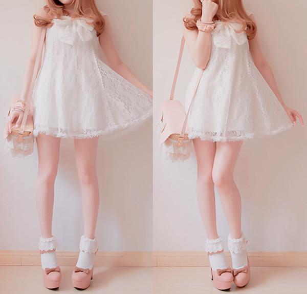 dress white cute lace dress white dress kawaii shoes socks BoBon21 lace girly